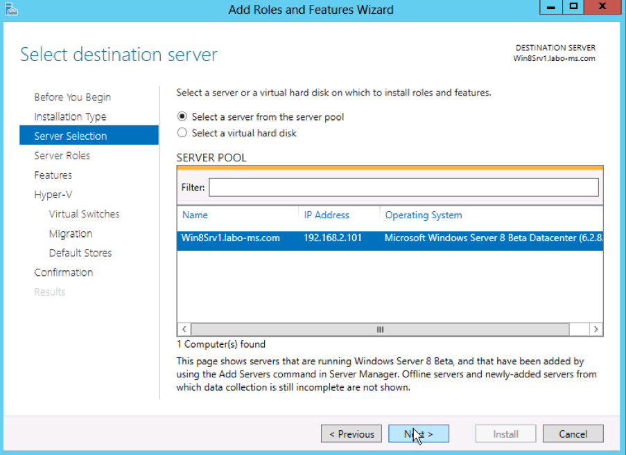 Hyper-V 2012 role installation