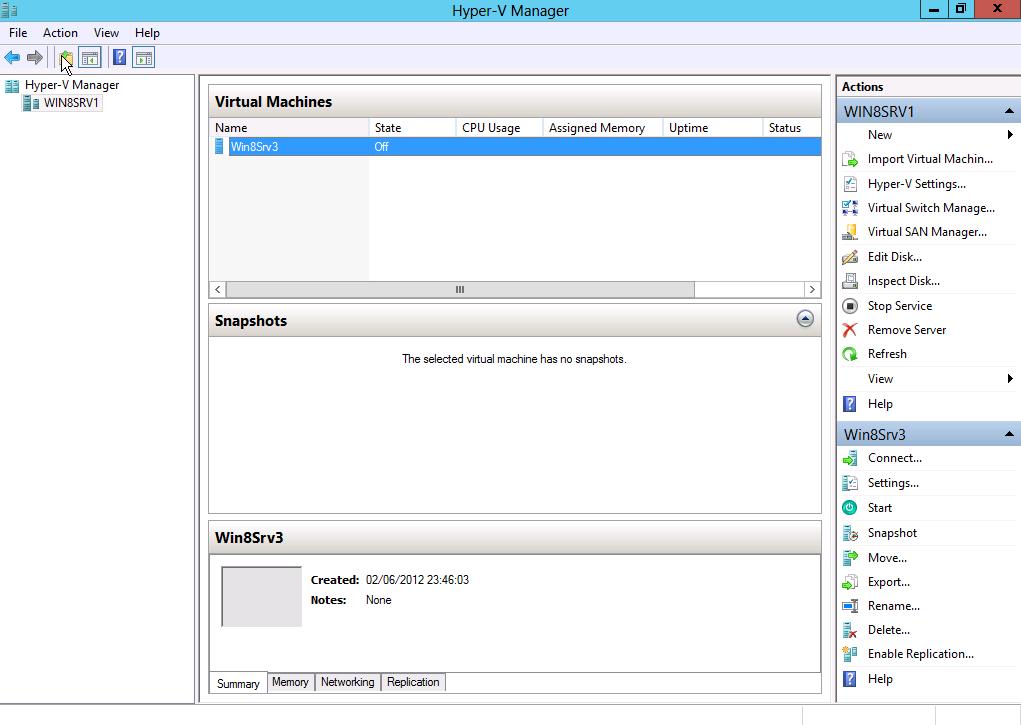 Create VM hyper-V 2012
