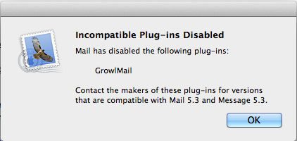 growlmail 1.3.3 Incompatible plug-ins disabled