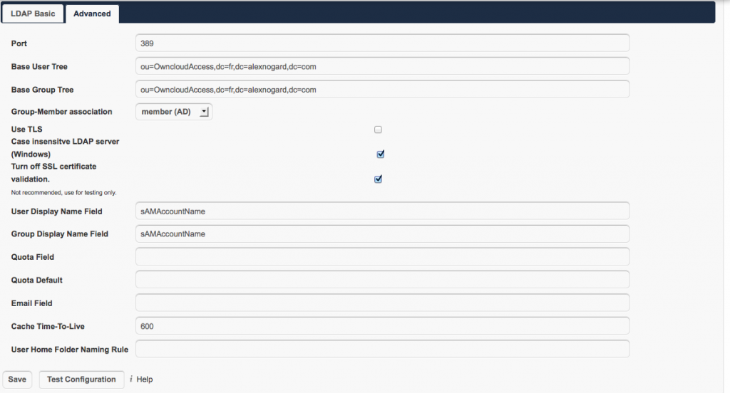Owncloud Active Directory