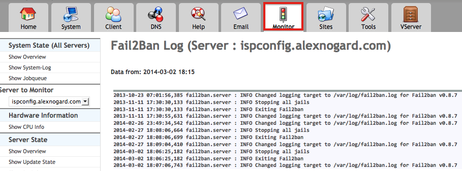 ISPConfig & Fail2Ban